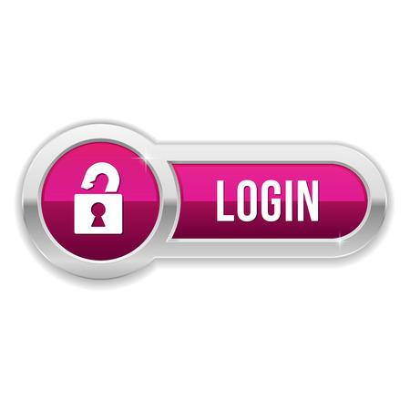 Long purple log-n button with metallic border Ilustrace