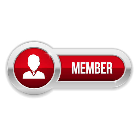 Long red member button with metallic border Vector