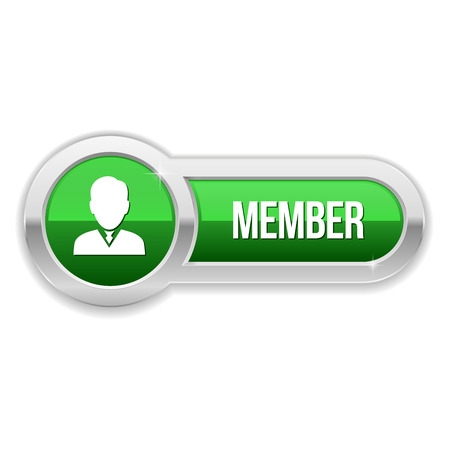 Long green member button with metallic border Vector