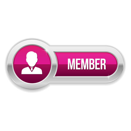 Long purple member button with metallic border Vector