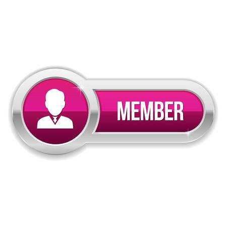 Long purple member button with metallic border Vector