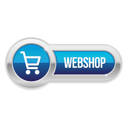 Blue long shop button with metallic border Vector