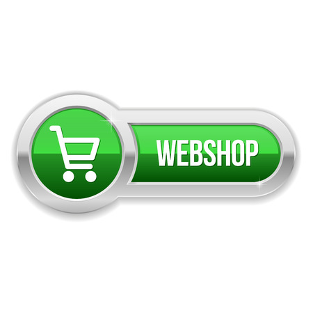 Green long shop button with metallic border Vector