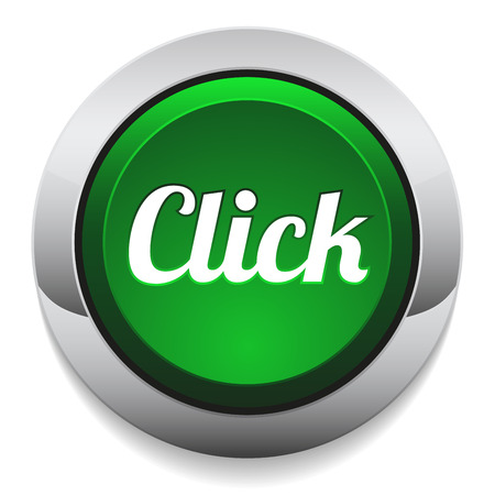 click here: Green round click button with metallic border