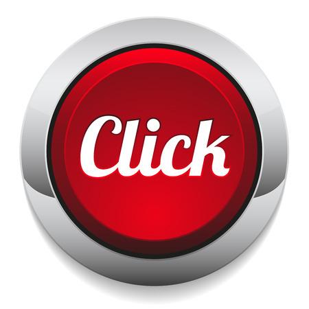 Rode ronde klik op de knop met metalen rand Stock Illustratie