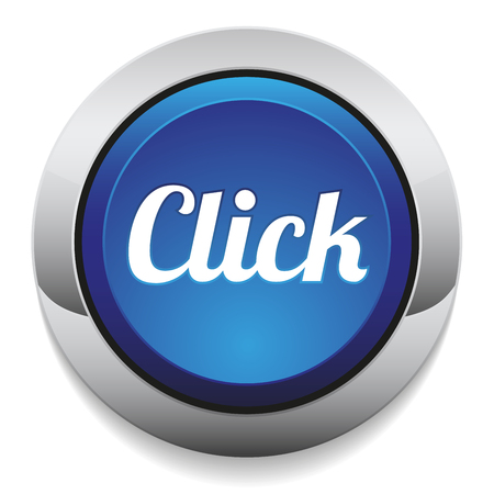 click button: Blue round click button with metallic border Illustration