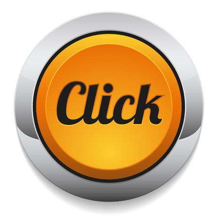 click here: Yellow round click button with metallic border Illustration