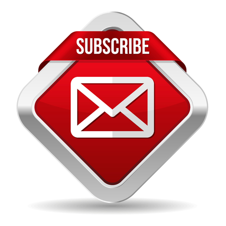 subscribe: Red square subscribe button with metallic border