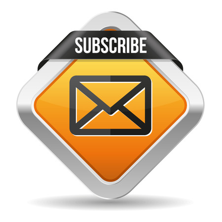 Yellow square subscribe button with metallic border Vector