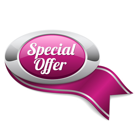 special offer: Purple oval special offer button with ribbon Illustration