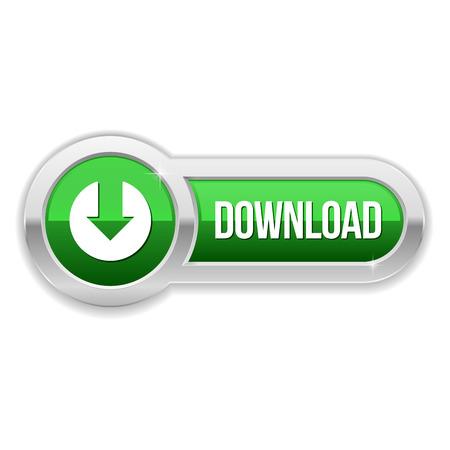금속 테두리와 긴 녹색 다운로드 버튼 스톡 콘텐츠 - 26004597