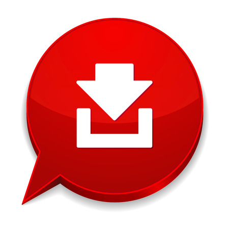 Red round speech bubble with download icon Vector