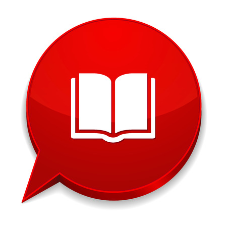 e book: Red round speech bubble with ebook icon