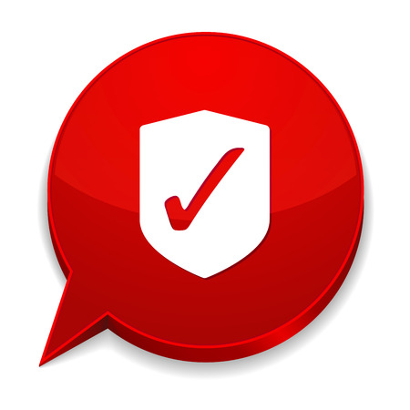 Red round speech bubble with shield icon Vector