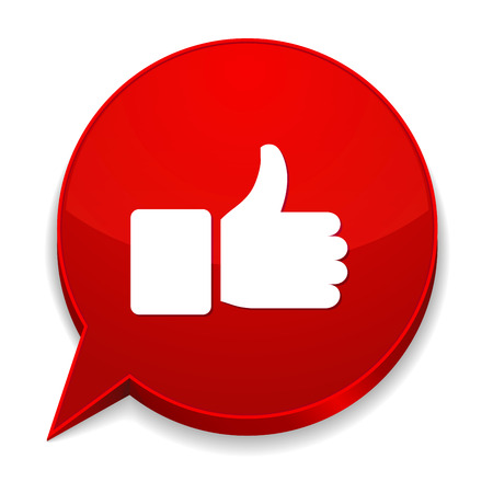 Red round speech bubble with thumb icon Ilustrace