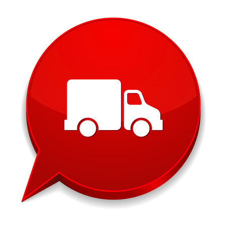 Red round speech bubble with truck icon Vector