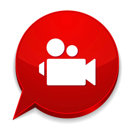 Red round speech bubble with video icon Vector