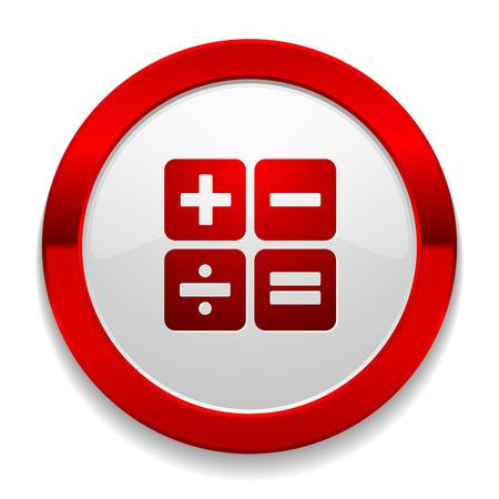 계산기 아이콘이있는 빨간 둥근 버튼 일러스트