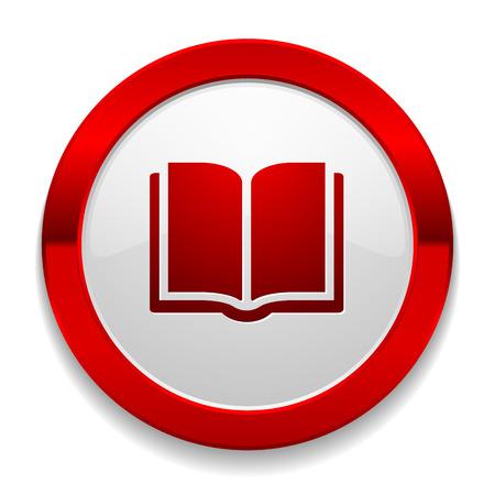 testigo: El bot�n rojo redondo con el libro icono Vectores