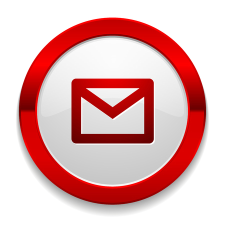 Red round button with mail icon