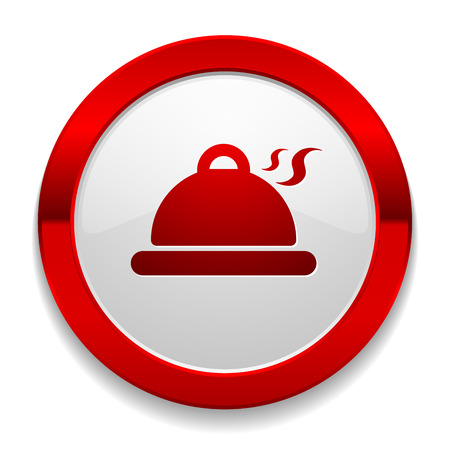 lunchroom: Red round button with meal icon