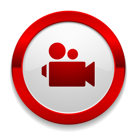Red round button with video icon Stock Vector - 26529358