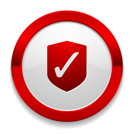 Red round button with secure icon Vector