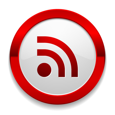 Red round button with rss icon Illustration