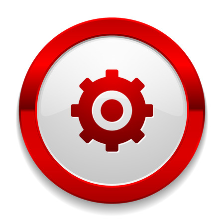 Red round button with gear icon Vector