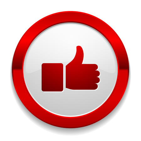 thumbs down: Red round button with thumb icon