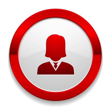 Red round button with female icon Vector