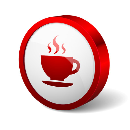 cofe: Red round button with cofe icon Illustration