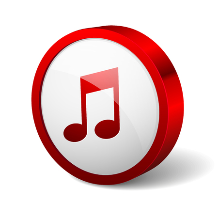Red round button with music icon Vector