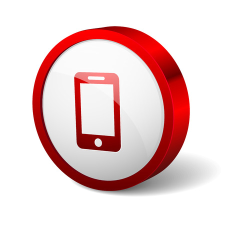 Red round button with phone icon Vector