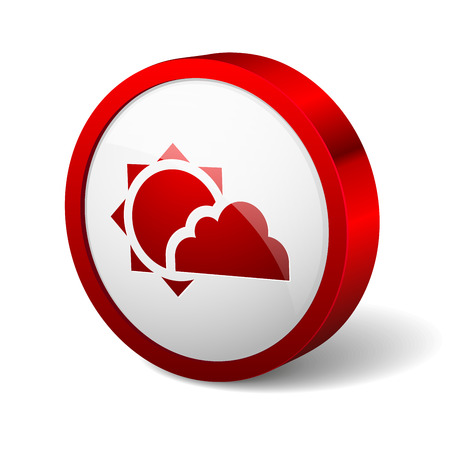 Red round button with sun and cloud icon Vector