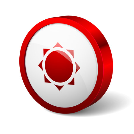 Red round button with sun icon Vector