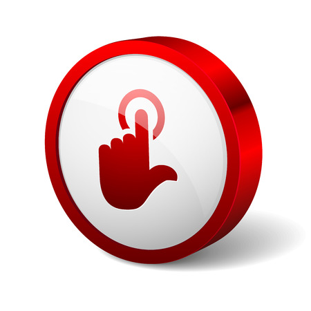 Red round button with touchpad icon Stock Vector - 26530023