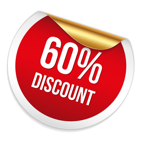 sixty: Red round sixty percent discount sticker on white background Illustration