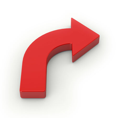 Big red arrow on white background photo