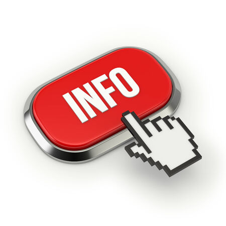 Red roundend info button with metallic border photo
