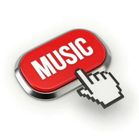 Red roundend music button with metallic border photo