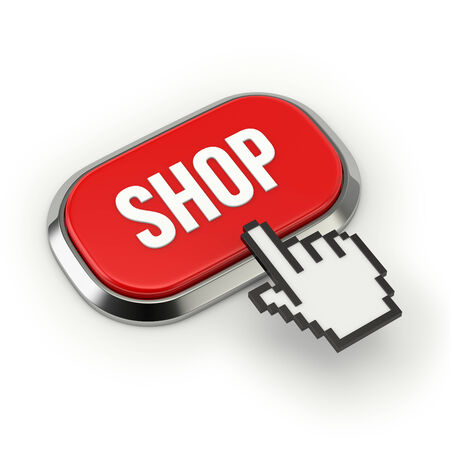 buy button: Red roundend shop button with metallic border