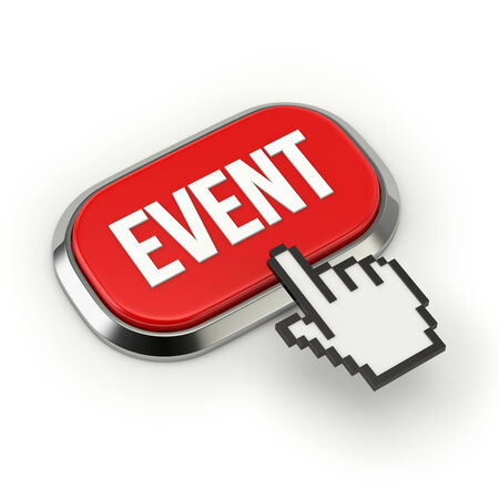 website buttons: Red roundend event button with metallic border Stock Photo