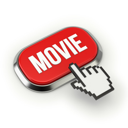 Red roundend movie button with metallic border photo