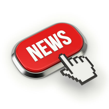 webcast: Red roundend news button with metallic border