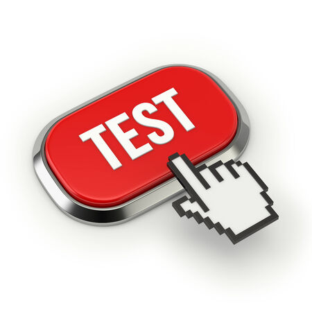 Red roundend test button with metallic border photo