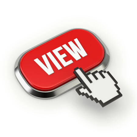 Red roundend view button with metallic border photo