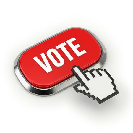 Red roundend vote button with metallic border photo