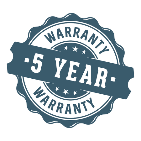 5 year warranty vector label / stamp