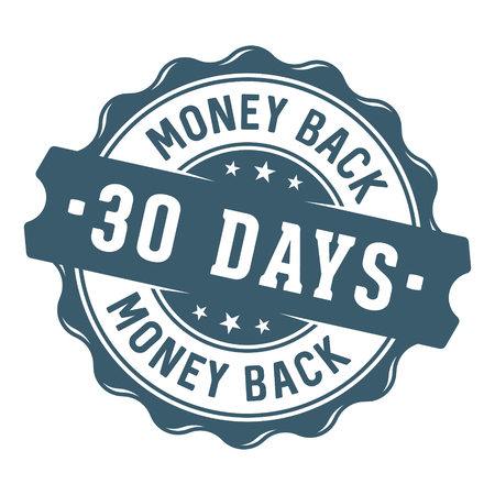 30 days money back stamp / label